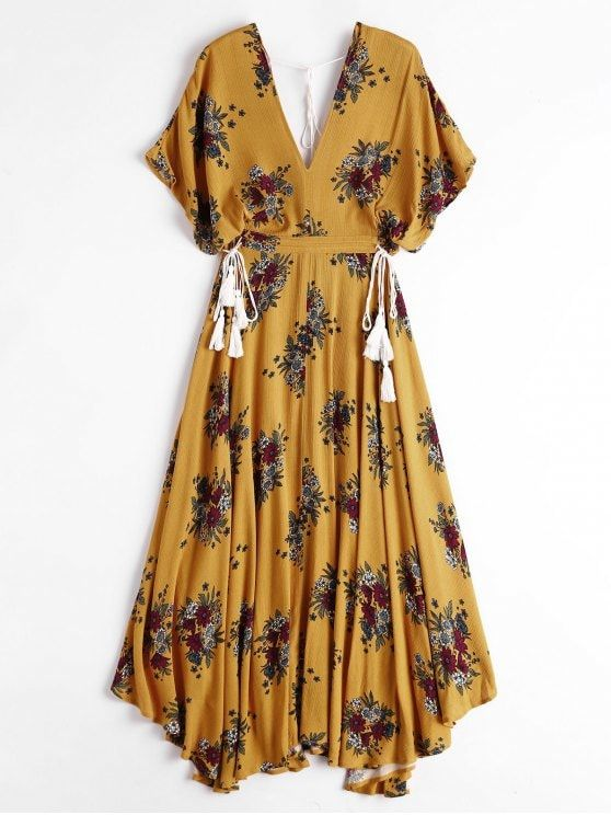 2c932600061 Batwing Floral Cut Out Maxi Dress - YELLOW XL
