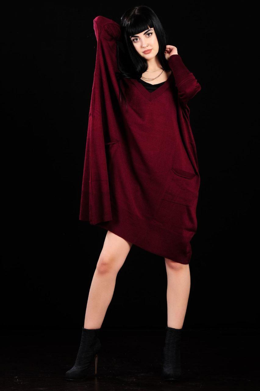 322abc374ee07 Cepli Salaş Bordo Triko Elbise #giyim #indirim #kampanya #bayan #erkek #
