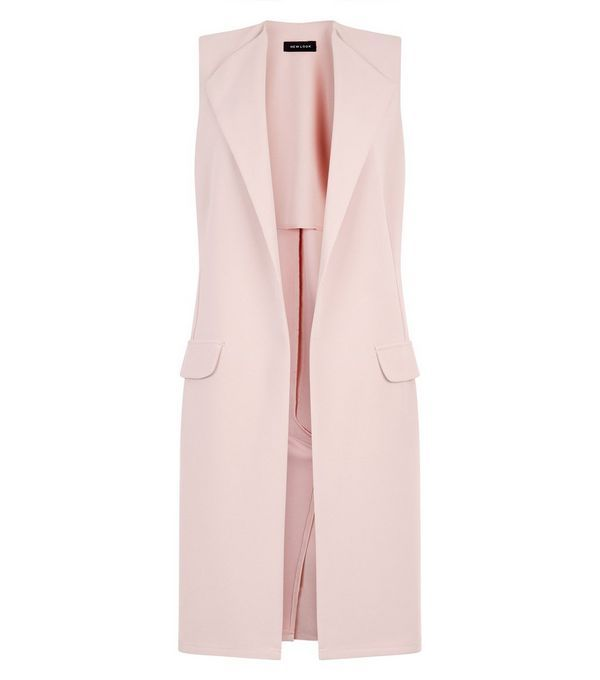 Ärmellose Jacke mit zwei Taschen in Hellrosa | New Look