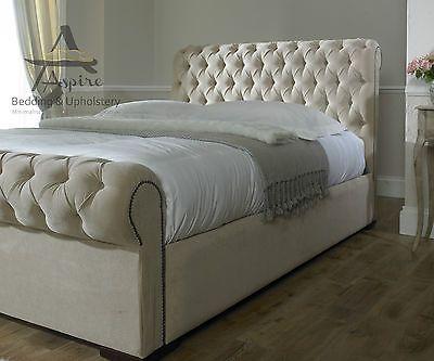 Park Lane Fabric Upholstered Chesterfield Bed Frame ...
