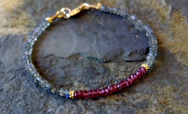Labradorite and garnet bracelet, beaded gemstone bracelet, labradorite jewelry, beaded friendship bracelet, delicate gemstone bracelet by TamDavisDesigns on Etsy
