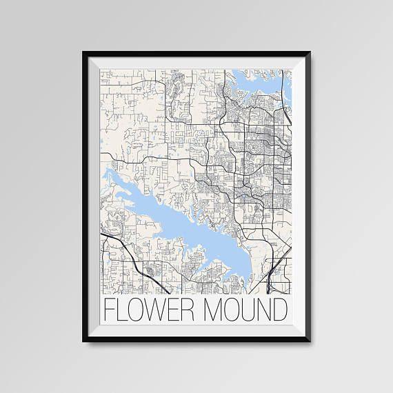 Flower Mound Texas Map Flower Mound City Map Print Flower Etsy Flower Mound Map Print Minimal Wall Art