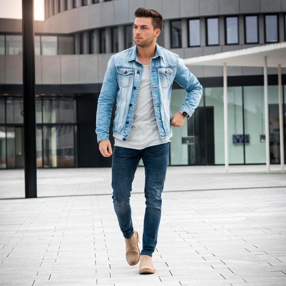 Style Guide How To Wear A Denim Jacket In Fall Blue Denim Jacket Outfit Light Denim Jacket Jean Jacket Outfits Men [ 980 x 980 Pixel ]