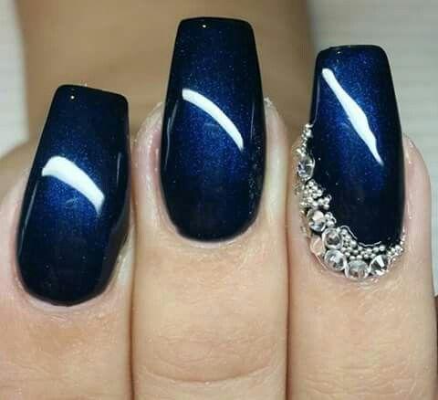 Azul Marino Unas Pinterest Blue Nails Nails And Super Nails