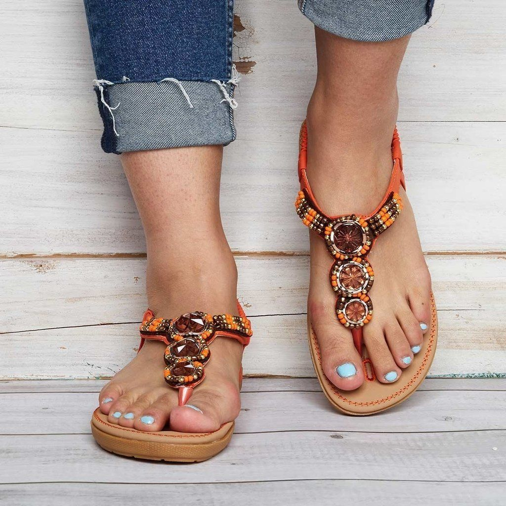 36cfe824b127 THONG ELASTIC BAND PLUS SIZE WOMEN SUMMER CASUAL SANDALS  Sandals  Leatrend