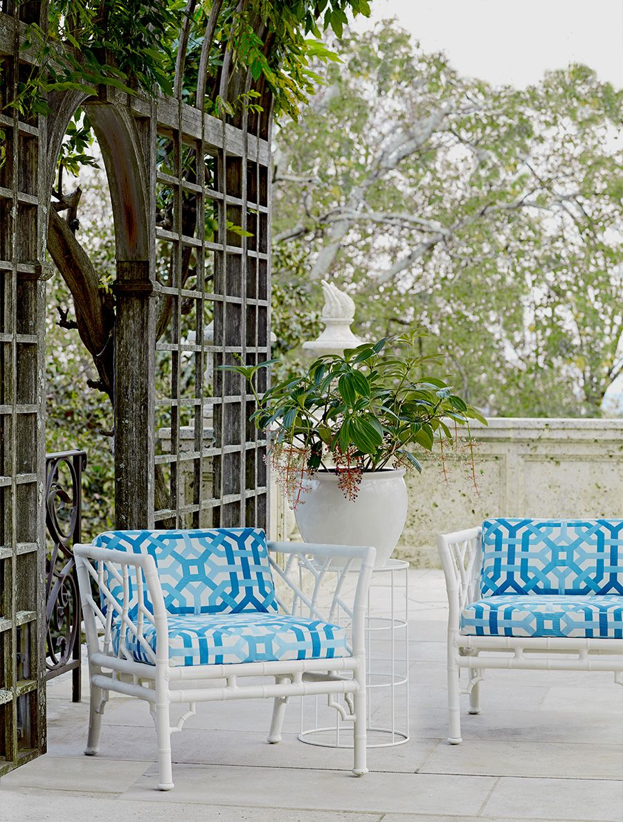 Schumacher Chinese Chippendale chairs and Schumacher fabric in azure ...