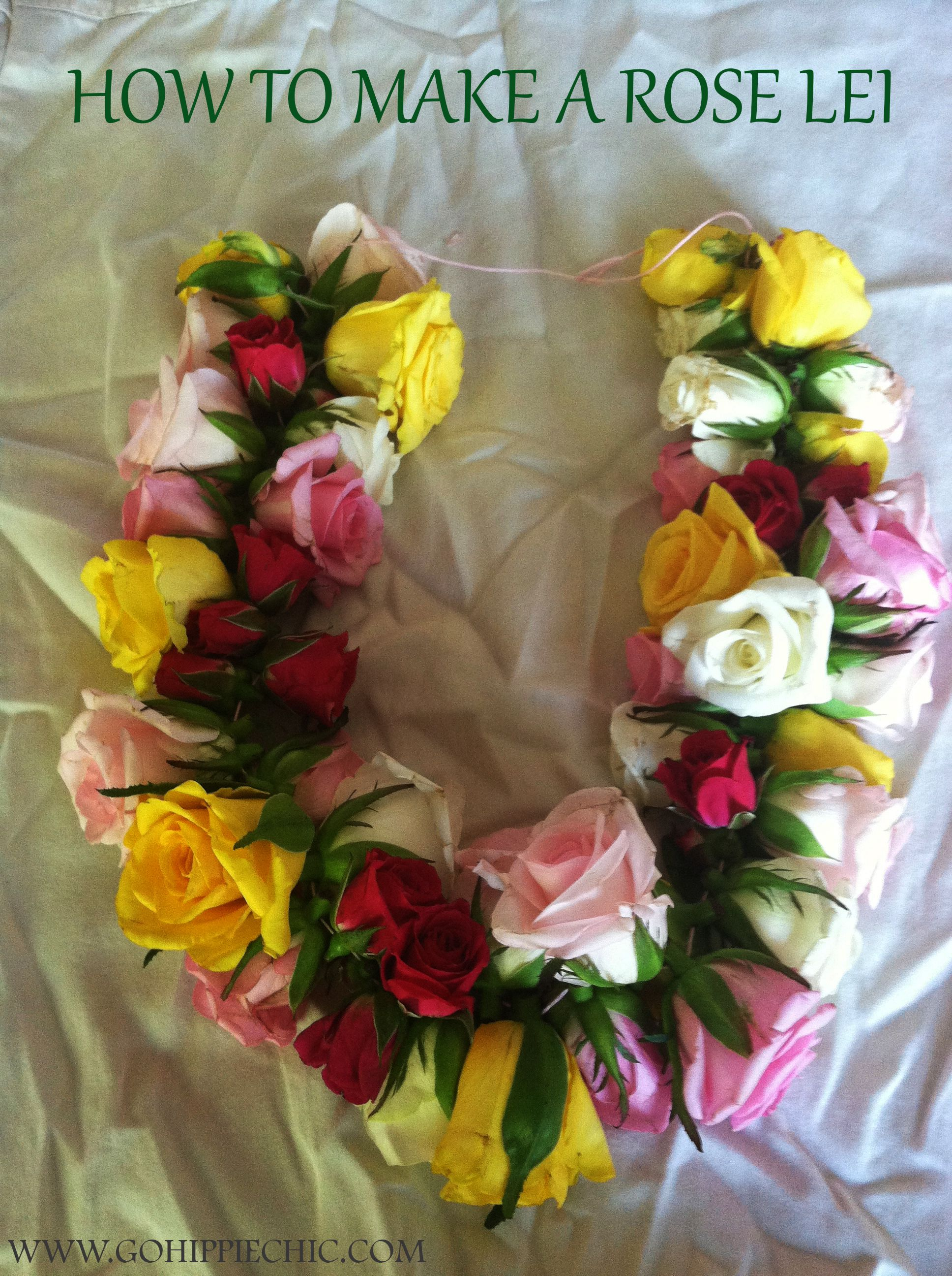 How to make a lei a fresh flower lei with roses craft projects how to make a lei a fresh flower lei with roses izmirmasajfo