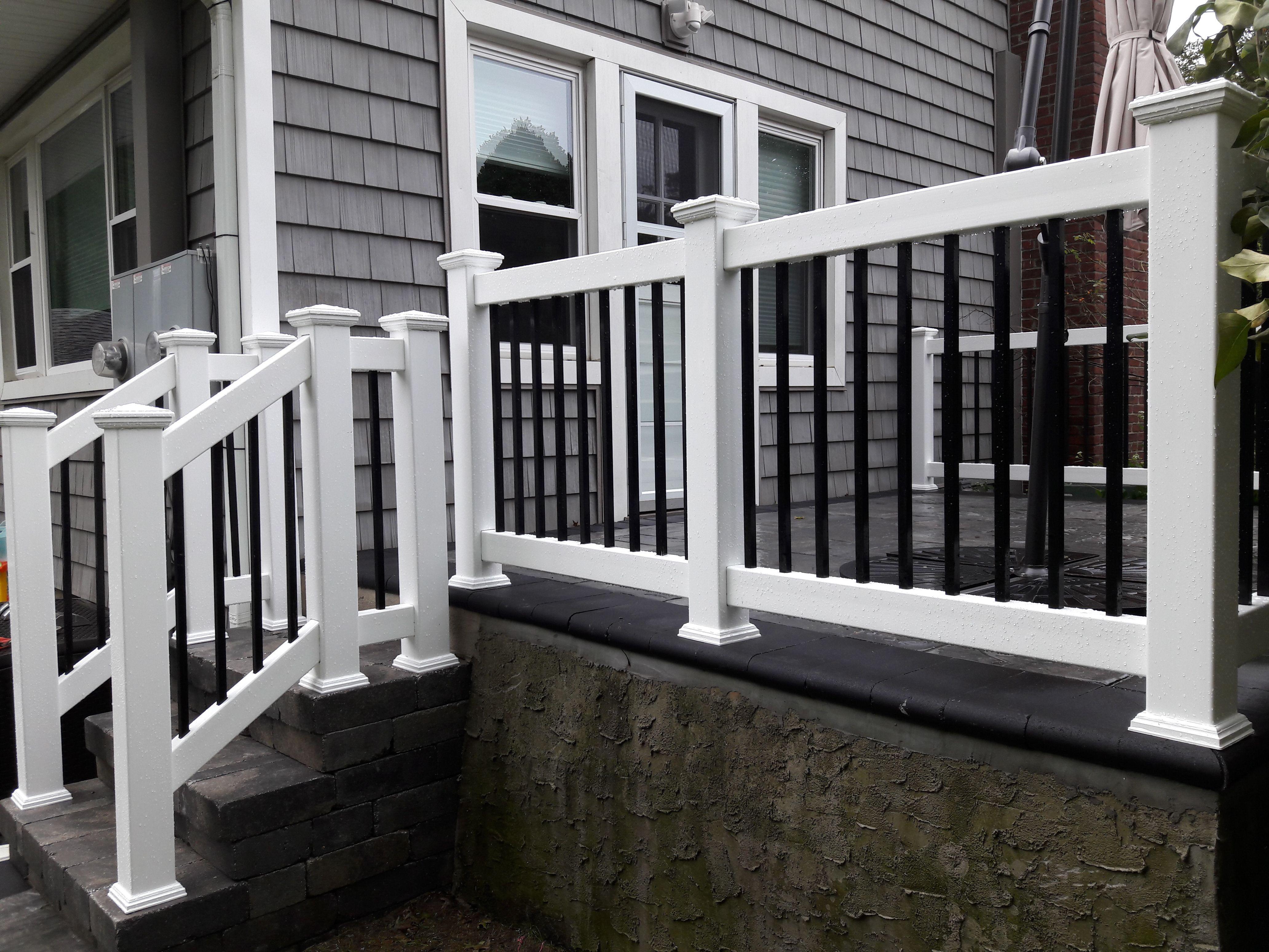 3 White Pvc Vinyl Black Aluminum Deck Rails Gates And Railings Aluminum Railing Deck Deck Railings