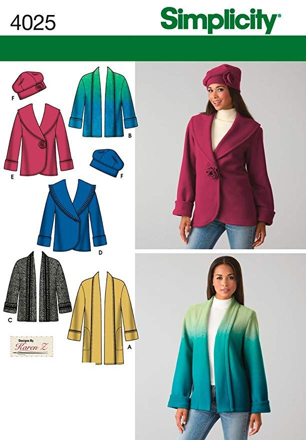Simplicity Sewing Pattern 4025 - Misses Jacket & Hat Sizes: A (XS ...