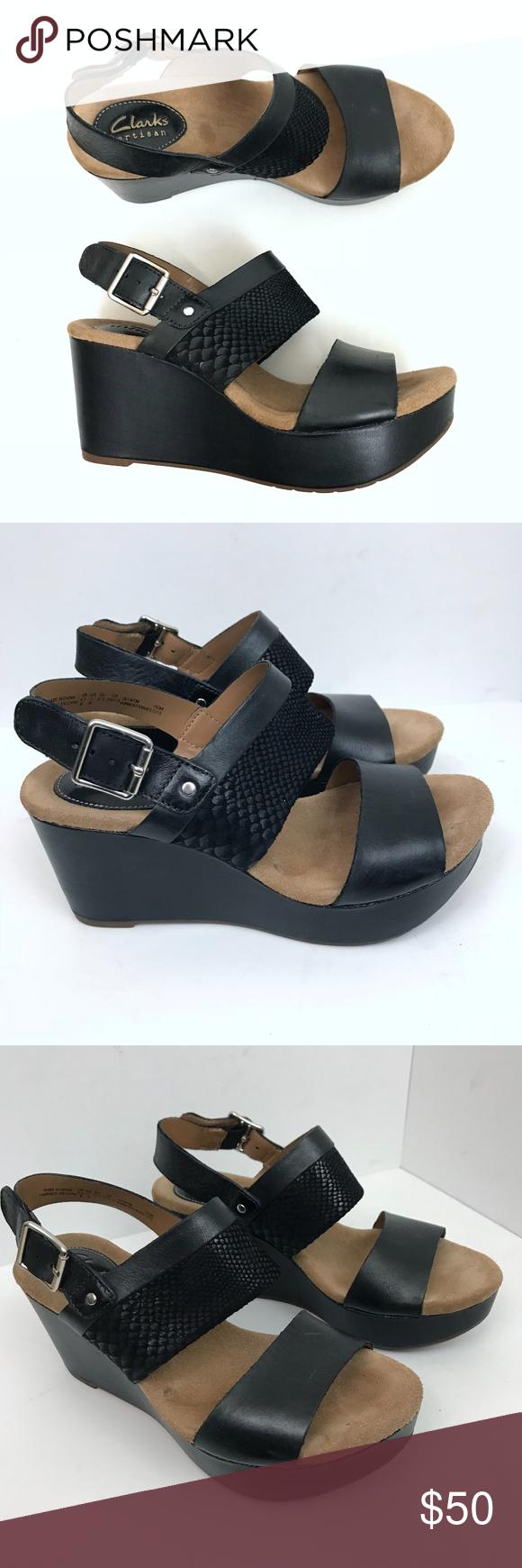 640038cd95f Clarks Caslynn Kat High Heel Sandal Wedge Black 7 Clarks Caslynn Kat High  Heel Sandal Wedge