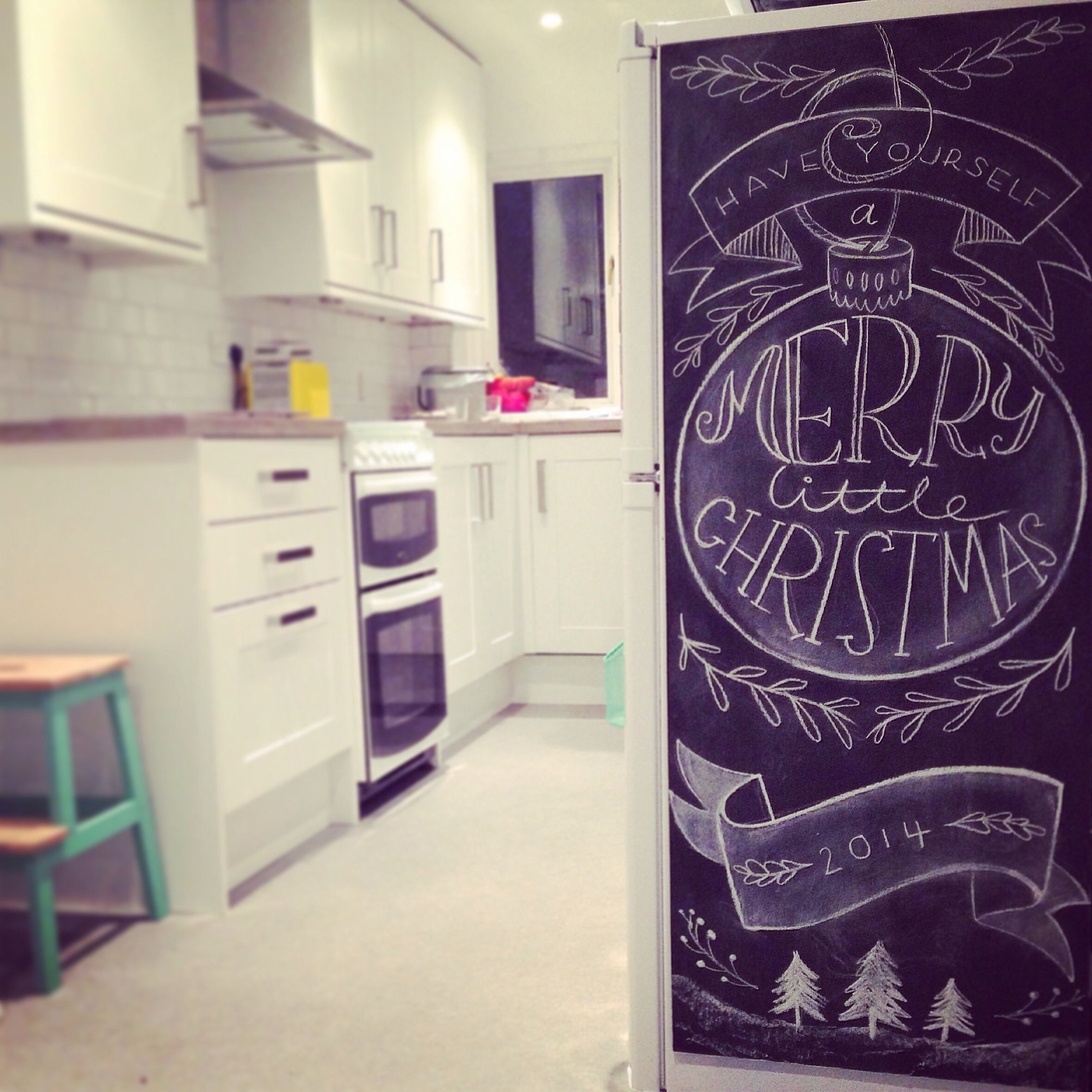 Getting our Christmas on at home with some festive chalkboard typography!