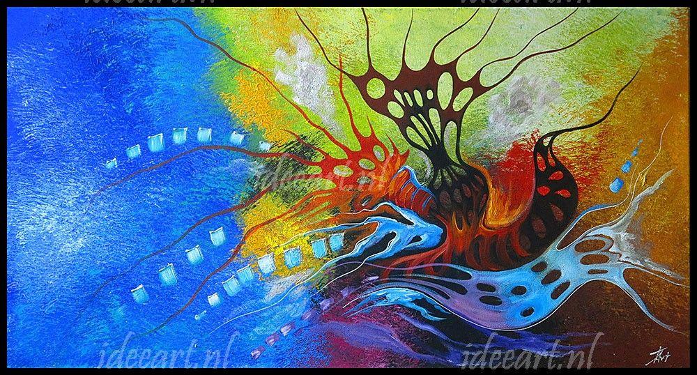 Moderne acryl schilderijen 1 luik kleurrijke abstractie for Moderne schilderijen