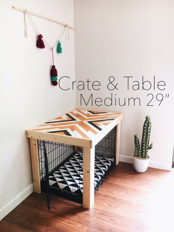 Crate table wood chevron art kennel cover modify your basic
