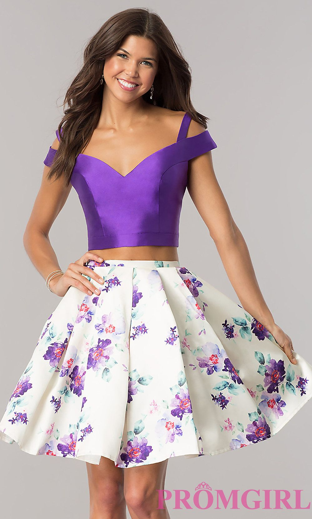 Purple short twopiece printskirt homecoming dress homecoming