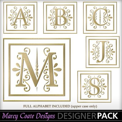 PNG Clipart elegant dark gold monograms (capital letters only) 300 ppi. Transparent background (light brown backing is shown only for contrast - your backing color/pattern will show behind the monogram)