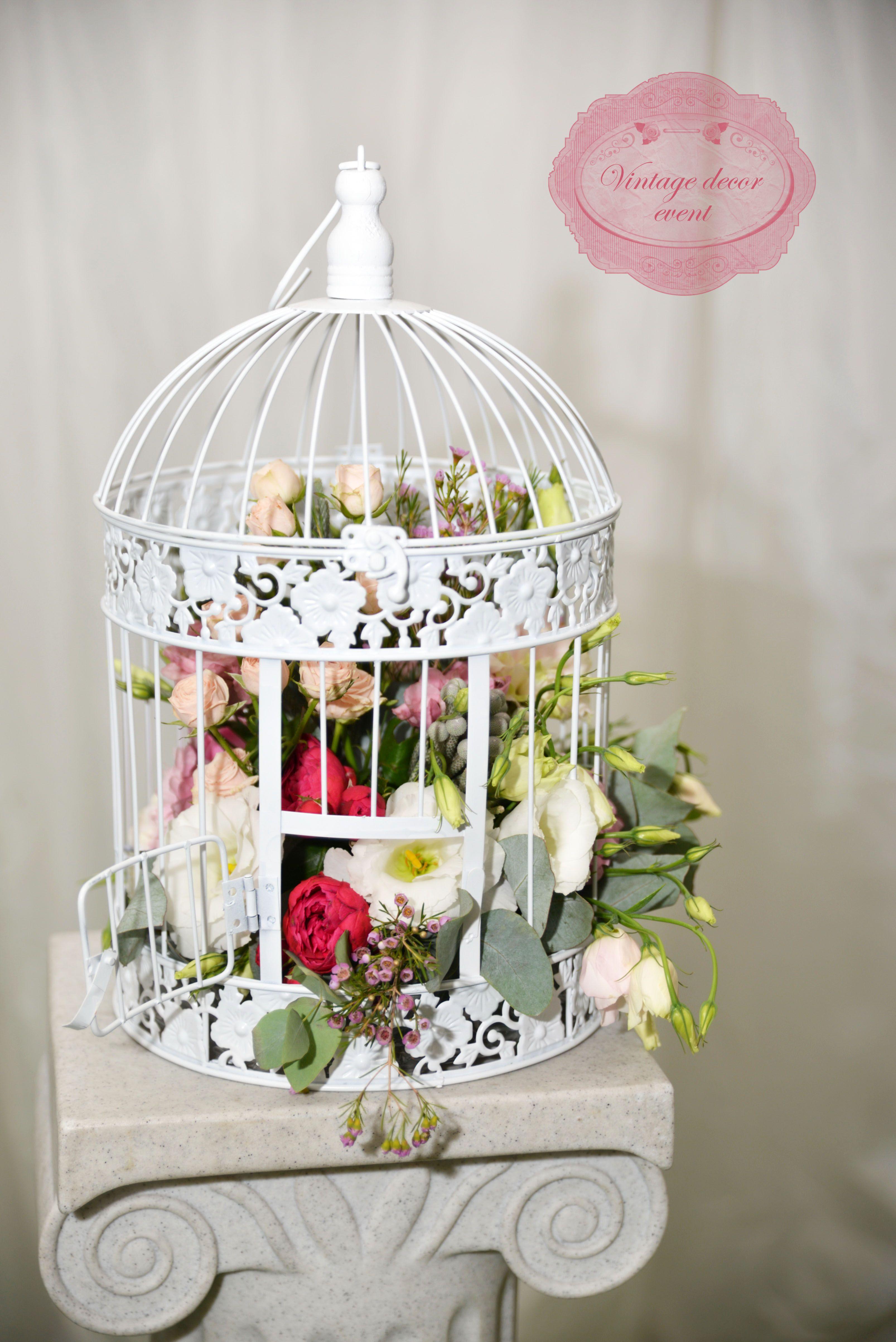 White wedding bird cage flowers