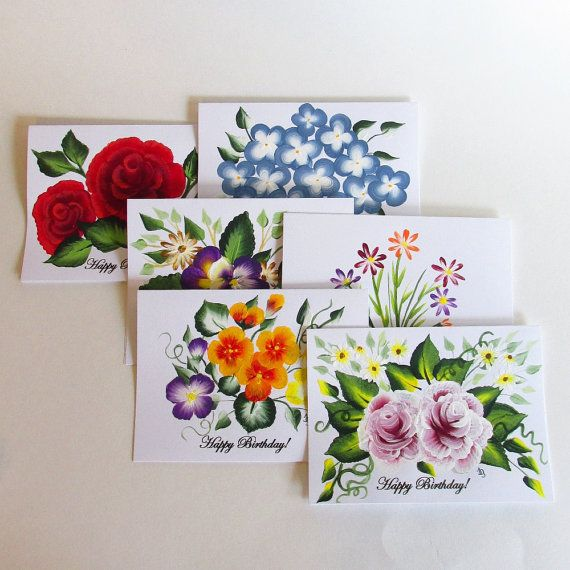 Original Hand Painted Greeting Card Colorful Floral Series 01