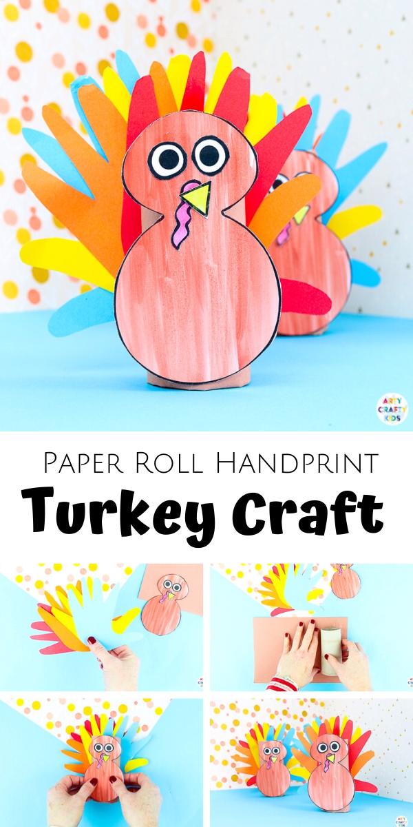 Paper Roll Turkey Handprint Craft  #handprintturkey