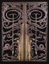 Albert Paley (American, b. 1944)  Portal Gates, 1974  Forged and  fabricated mild  steel, brass, bronze, copper