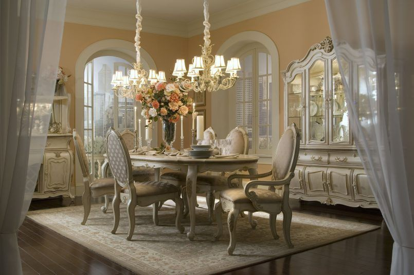 Dining Room Cream Set Chandelier Candle Holder Roses Flower Vase Carpet White Curtain Window Curio