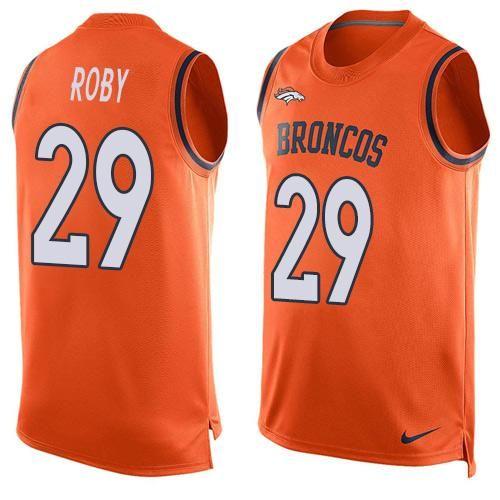 5e7223d1a Nike Broncos  29 Bradley Roby Orange Team Color Men s Stitched NFL Limited  Tank Top Jersey