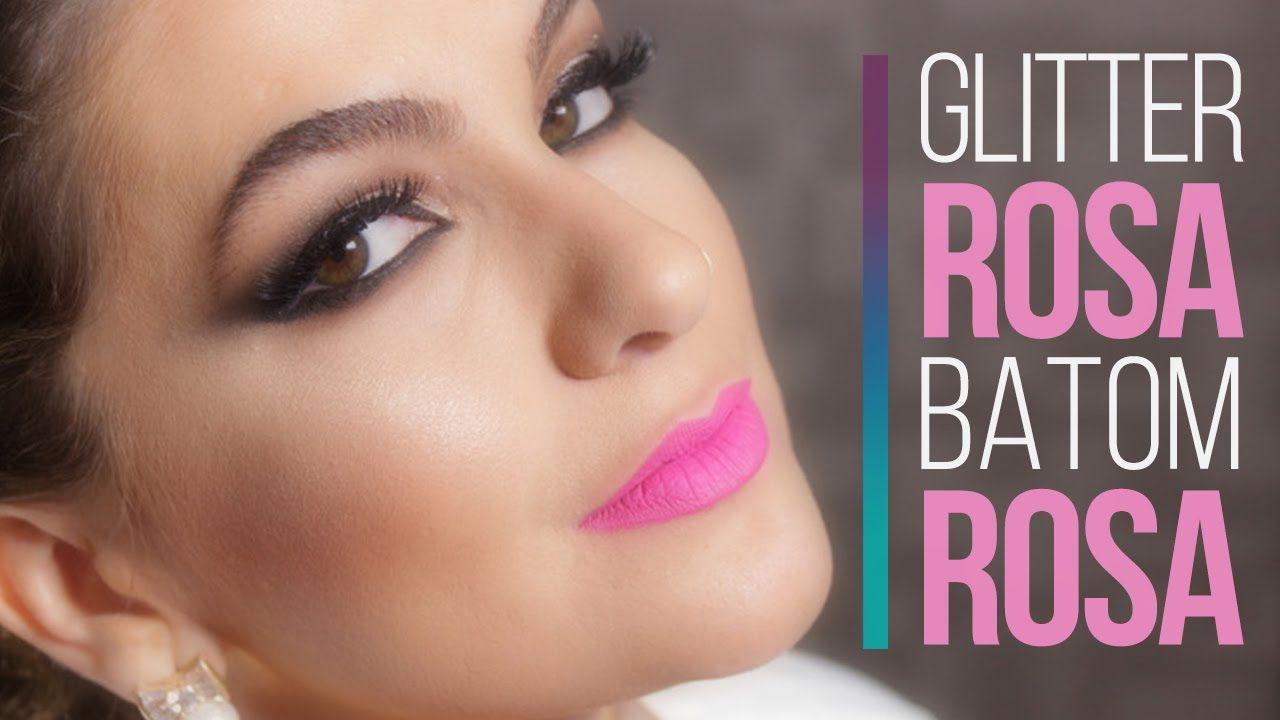 Maquiagem com batom rosa e glitter rosa (editado) por Alice Salazar