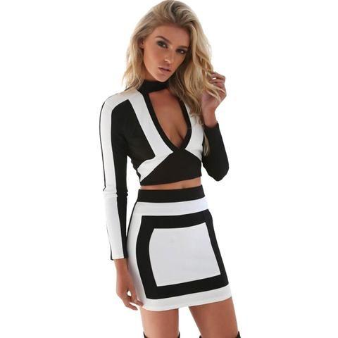 43d9a68cf2 Two Piece Deep V-Neck Long Sleeve Black White Color Block Sexy Bodycon Dress