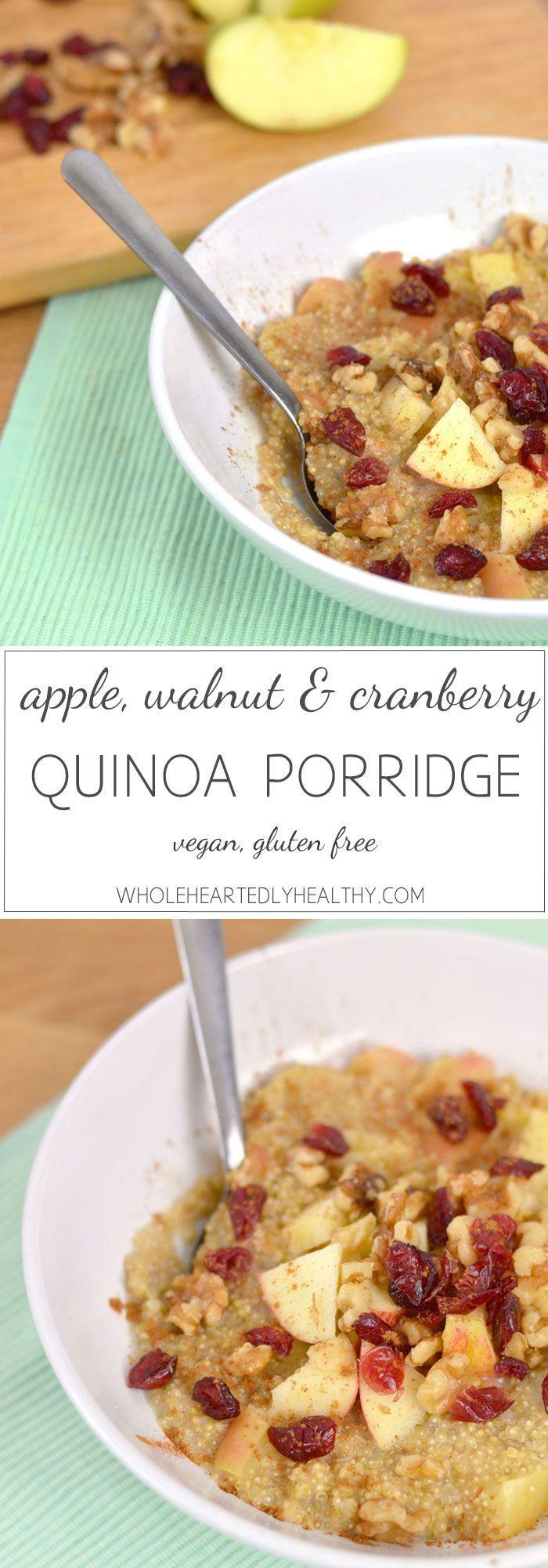 Apple, walnut and cranberry quinoa porridge recipe - Wholeheartedly Healthy