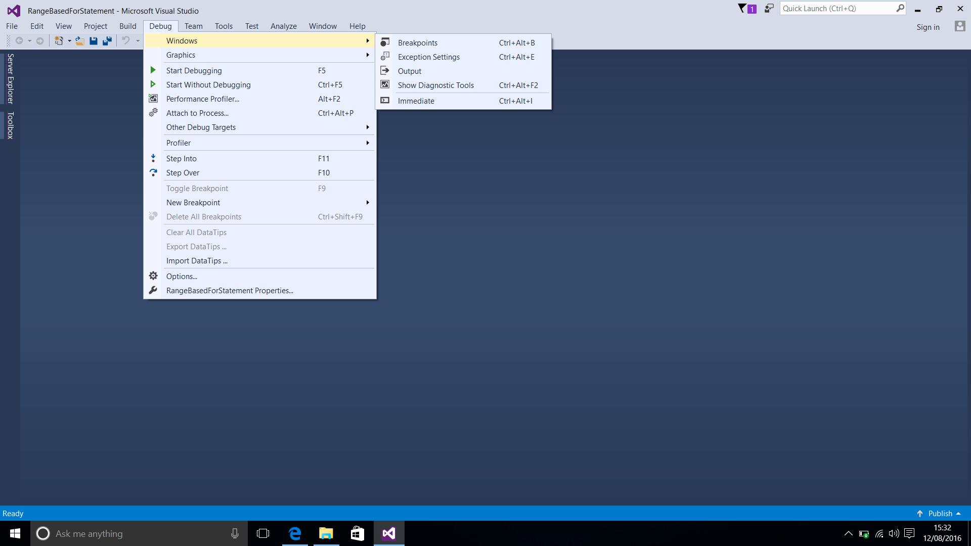 Screenshot of Selecting Windows from the Debug Menu in Visual Studio 2015 (Windows 10).  Taken on 12 August 2016.