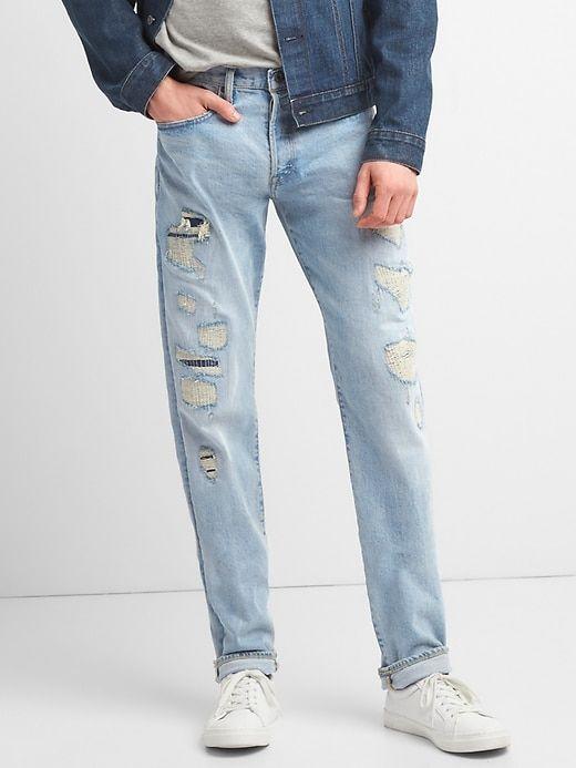 a7844ff3ebc Gap Mens Gap Cone Denim® Destructed Selvedge Jeans In Slim Fit With Gapflex  Vintage Light