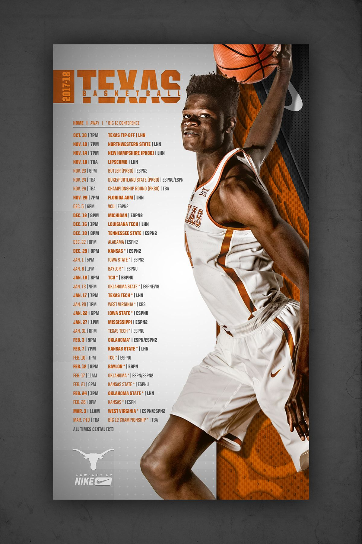 Texas Basketball Schedule On Behance Sport Poster Design Basketball Schedule Sports Graphic Design