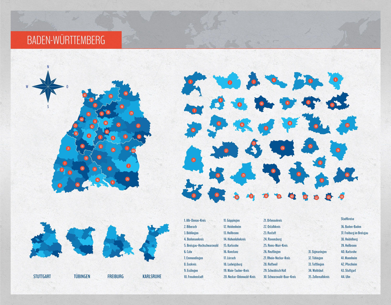 Landkarte Baden Wurttemberg Mit Landkreisen Mit Bildern