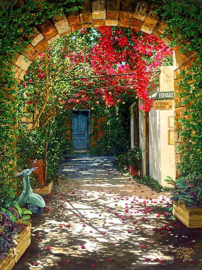 Paisajes con Casas Flores y Arboles de Doug Kreuger Bodegones y - casas en arboles