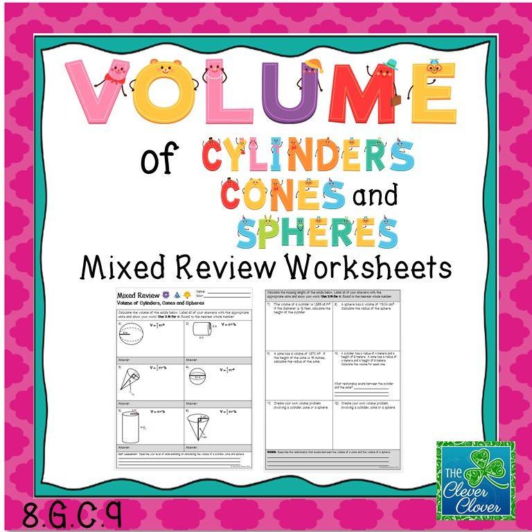 Volume of Cylinders Cones and Spheres Mixed Review Worksheet – Volume Cone Worksheet
