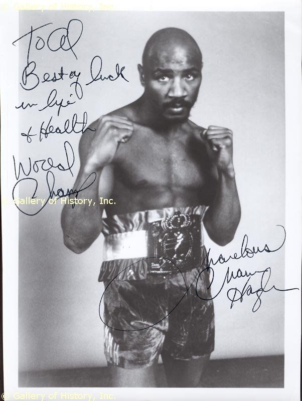 Marvelous Marvin Hagler Inscribed Photograph Signed Document 67591 Boxing History Boxing Images Marvelous Marvin Hagler