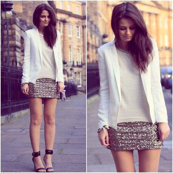 #fashion #style #blouse #top #blazer #white #skirt #silver #heels #sandals