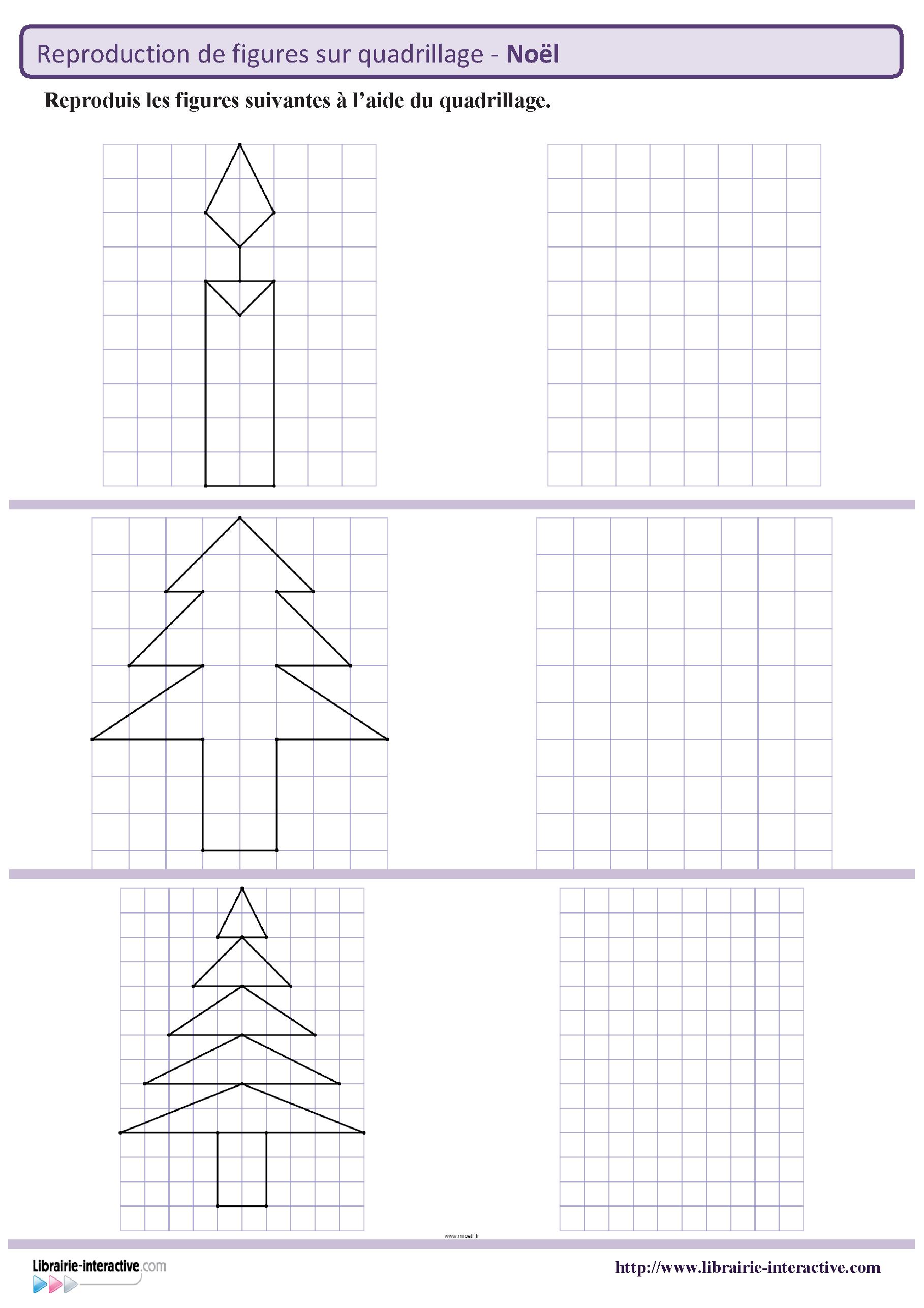 Des Figures Geometriques Sur Le Theme De Noel A Reproduire Sur Quadrillage Du Ce1 Au Cm2