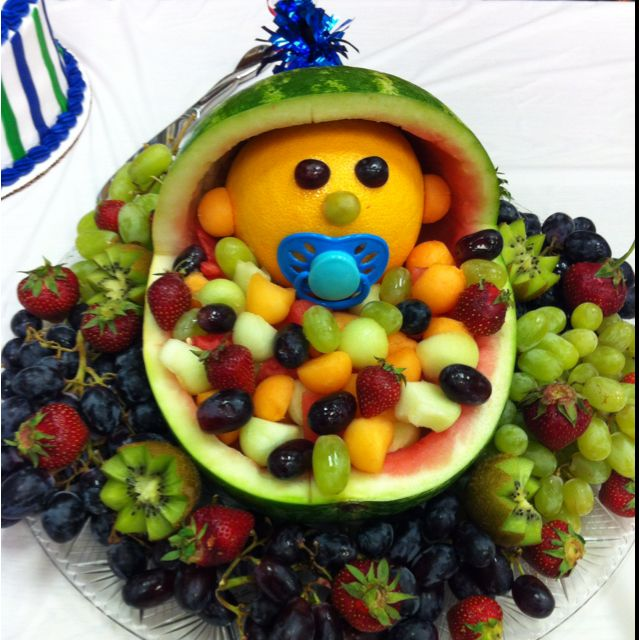 Baby shower fruit tray too cute if i find a spare for Baby shower fruit decoration ideas