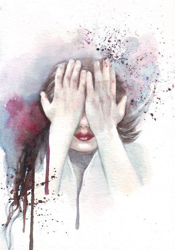 Original watercolor Hiding Hands painting art by HelgaMcL on Etsy