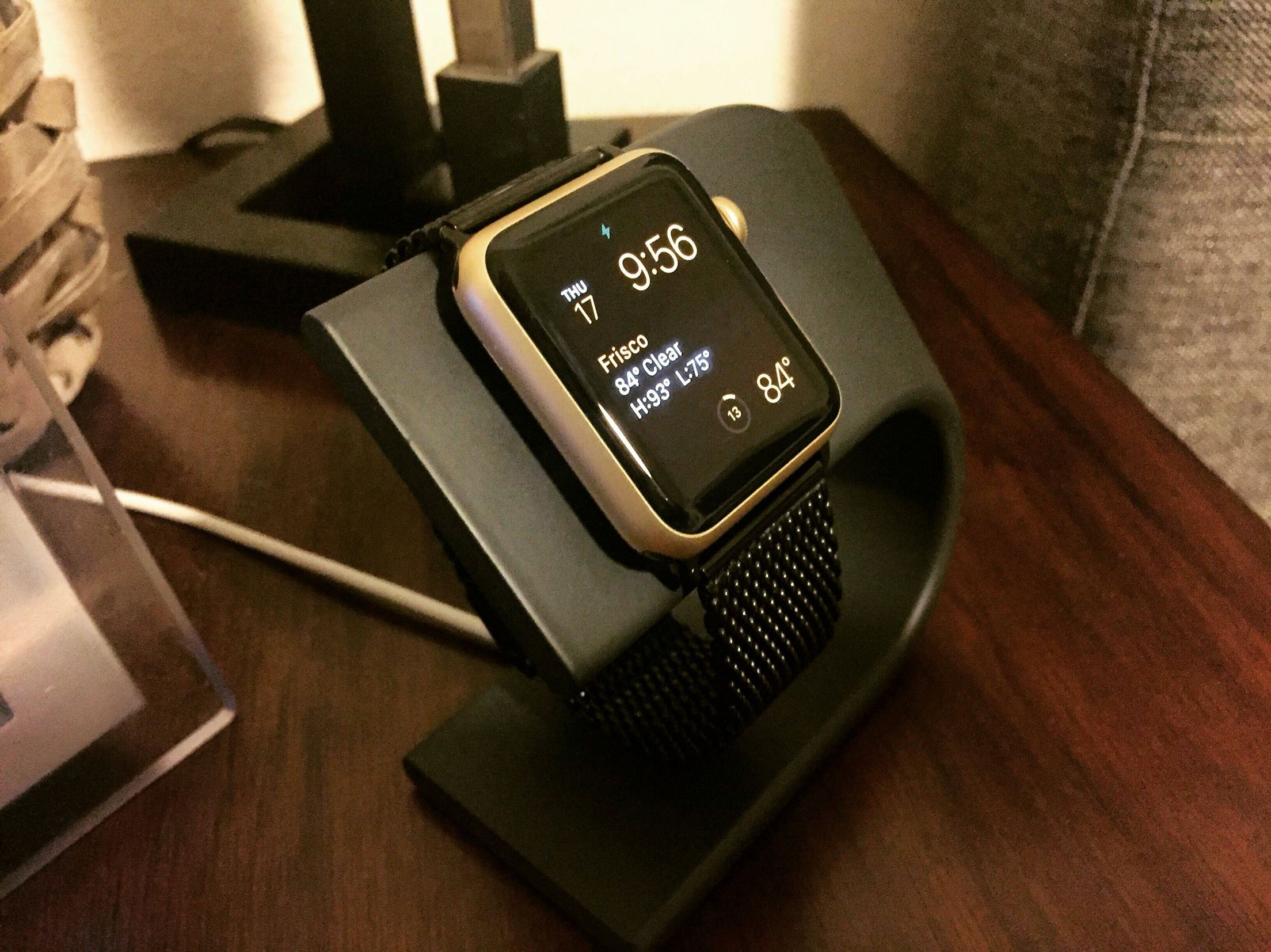 Gold Apple Watch Sport with Black Milanese Loop band