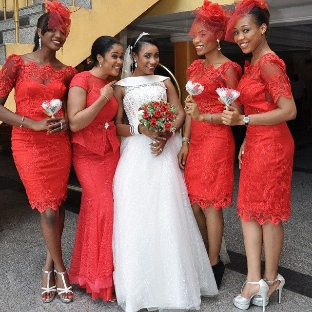 Nigerian wedding red lace bridesmaids dresses with red fascinators 88840202de53