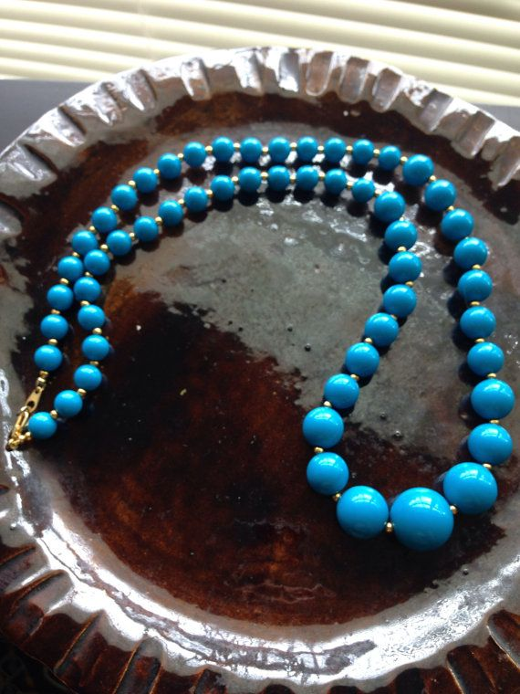Turquoise colored beaded necklace by closetpurge on Etsy
