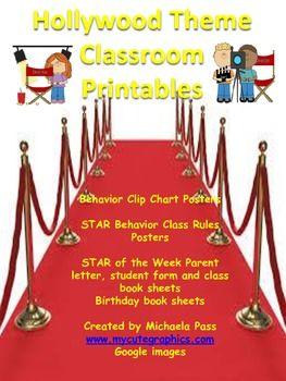 hollywood classroom theme | Hollywood theme Classroom Printables