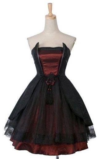 1da3604574e5 Robe noire et rouge avec dentelle Pyon Pyon LQ-040