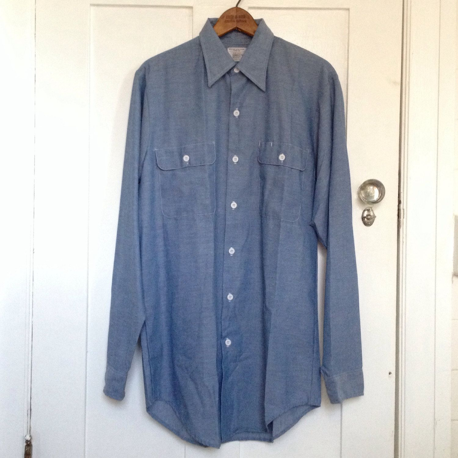 Vintage Deadstock Chambray Long Sleeve Button Down / Blue Oxford Button Up / Light Blue Chambray Shirt mN7tn0j