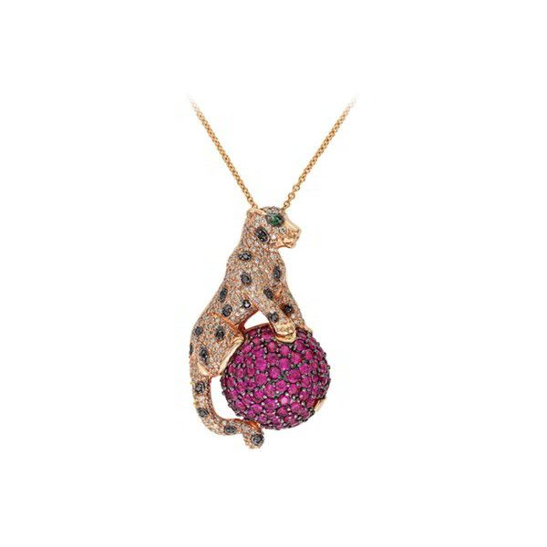 EFFY Ruby and Diamond Panther Pendant 2597 liked on