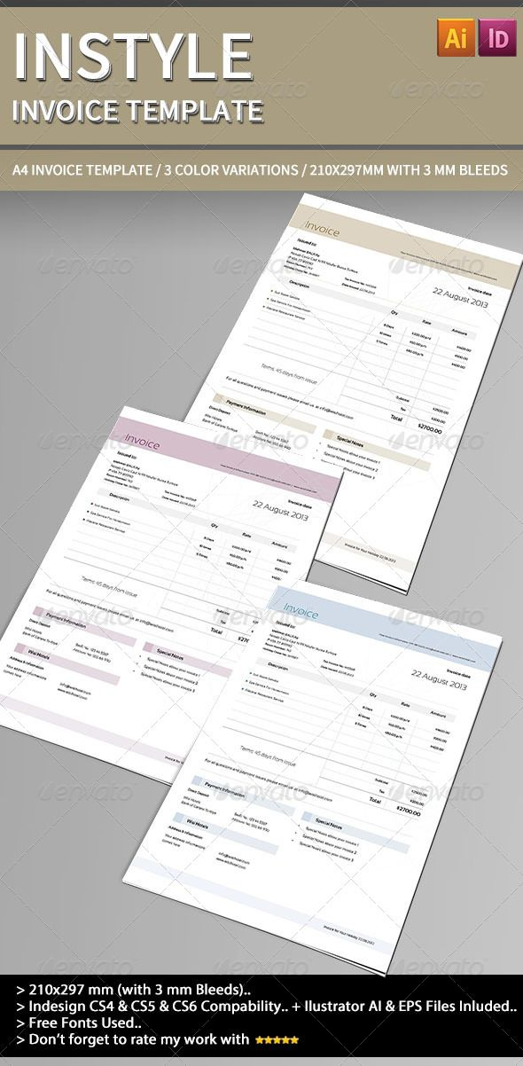 Instyle Invoice Template Template, Print templates and Fonts - print an invoice