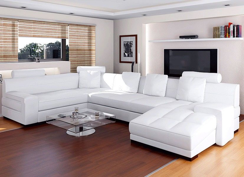 Living Room White Leather Sectional Sofa With Gray Chevron