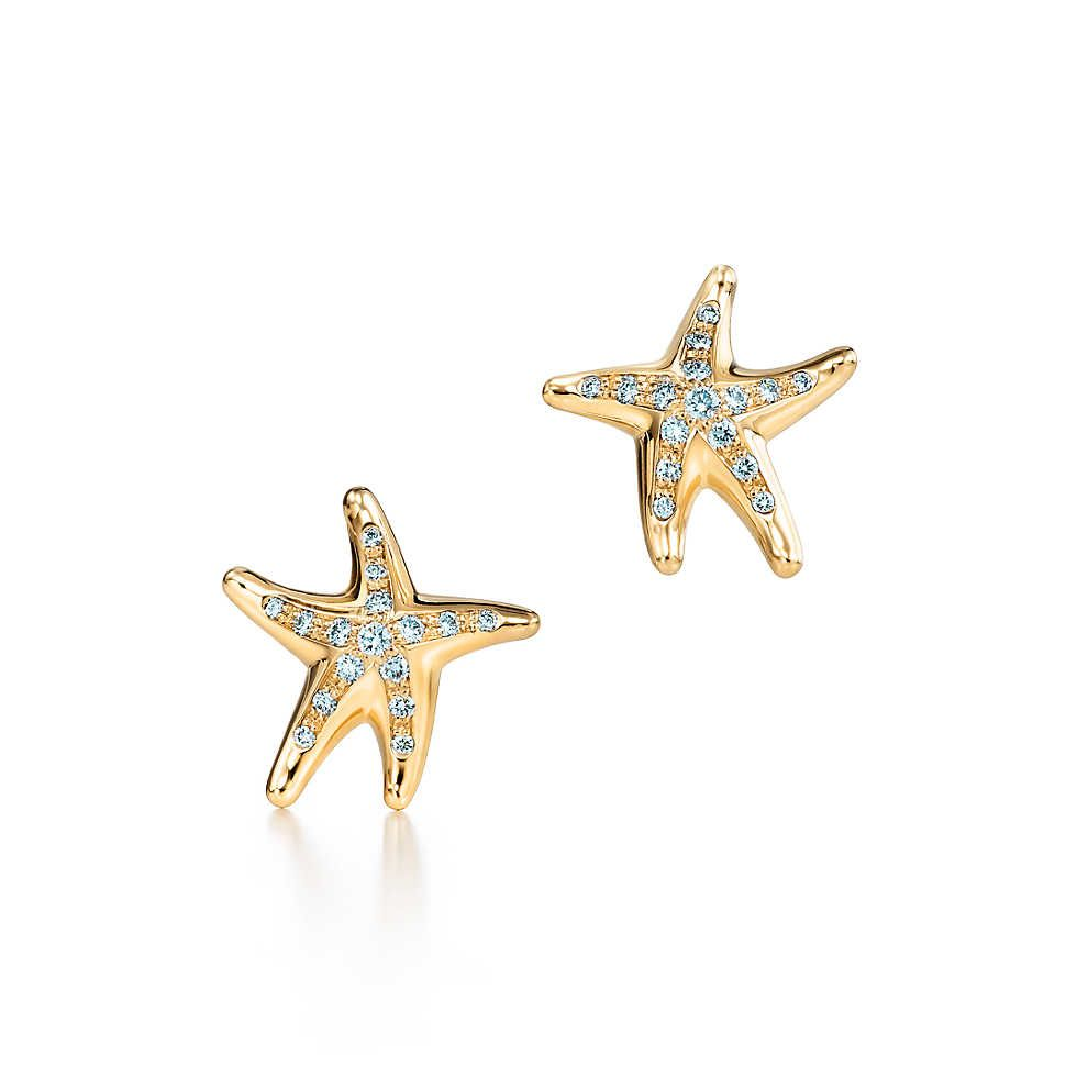 Elsa Peretti Starfish Earrings With Diamonds In 18k Gold Tiffany Co