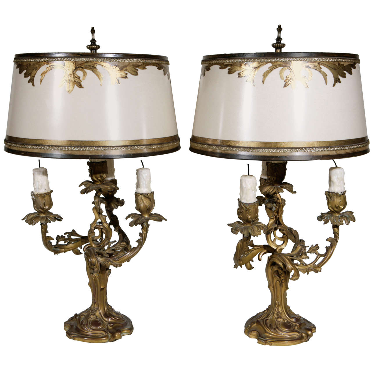 Pair Of 19th C French 3 Arm Dore Bronze Candelabra Lamps Bronze Candelabras Bronze Candle Lamp